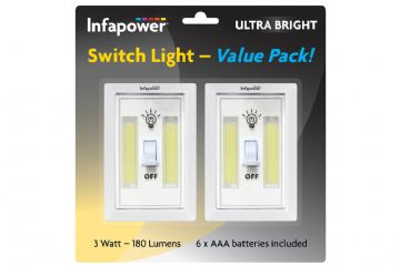 Infapower Switch Light COB LED 180 Lumens Value Pack X2  inc 6x AAA Batteries